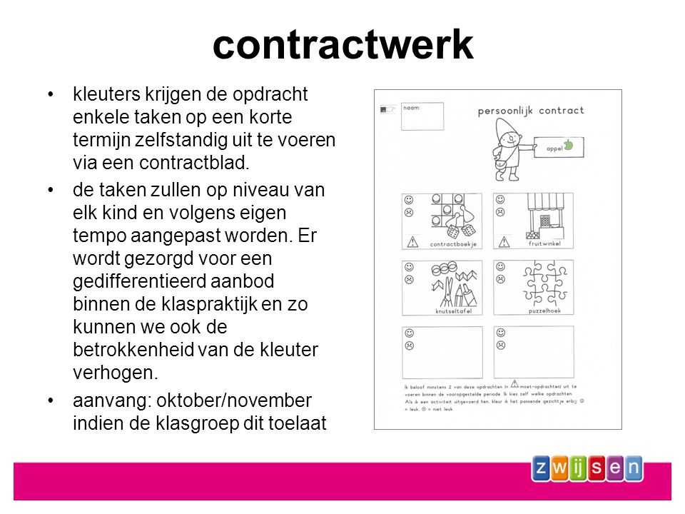contractwerk •kleuters krijgen de opdracht enkele taken op een korte termijn zelfstandig uit te voeren via een contractblad.