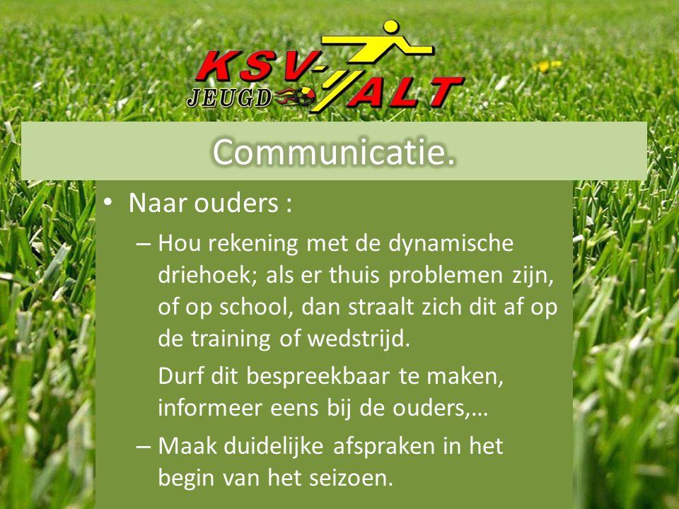 • Naar ouders : – Hou rekening met de dynamische driehoek; als er thuis problemen zijn, of op school, dan straalt zich dit af op de training of wedstrijd.