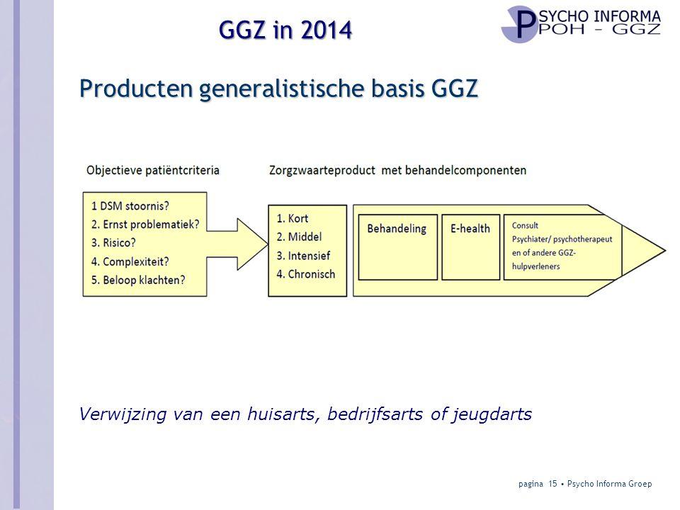 GGZ in 2014 Producten generalistische basis GGZ pagina 15 • Psycho Informa Groep Verwijzing van een huisarts, bedrijfsarts of jeugdarts