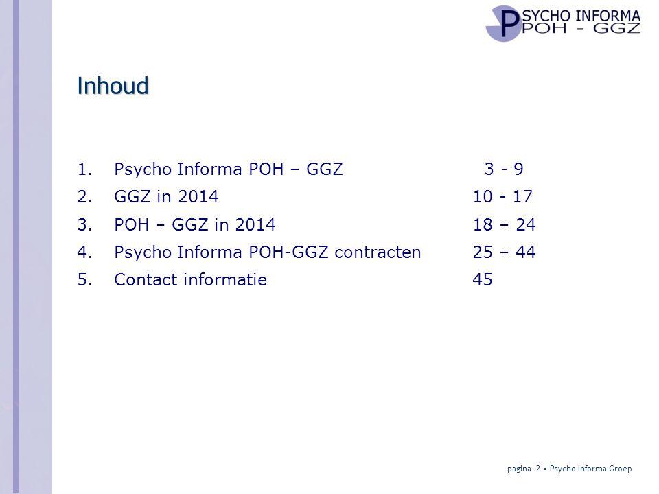 POH - GGZ in 2014 Verschillen per regio • % huisartsen met POH-GGZ: –Landelijk 43 % –Spreiding 8 – 95 % • Regio Midden Holland: 30% • Regio Den Haag: 80% • In sommige regio's in NL dominante positie van voorwaarts geïntegreerde instellingen • Zorgverzekeraars willen graag hoog % POH-GGZ in alle regio's om gewenste systeemwijziging mogelijk te maken pagina 23 • Psycho Informa Groep