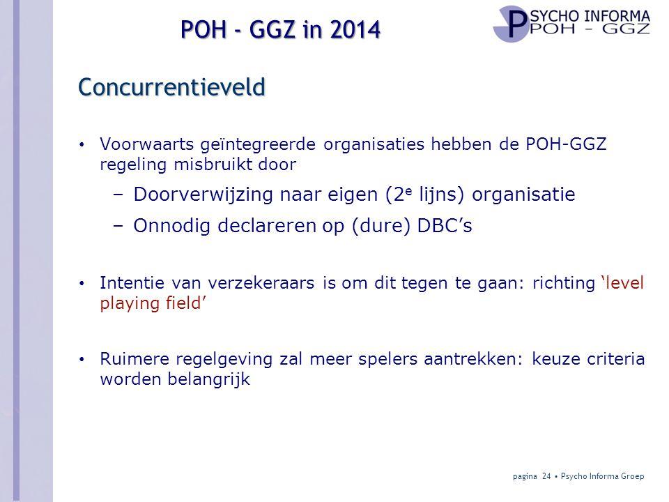 POH - GGZ in 2014 Concurrentieveld • Voorwaarts geïntegreerde organisaties hebben de POH-GGZ regeling misbruikt door –Doorverwijzing naar eigen (2 e lijns) organisatie –Onnodig declareren op (dure) DBC's • Intentie van verzekeraars is om dit tegen te gaan: richting 'level playing field' • Ruimere regelgeving zal meer spelers aantrekken: keuze criteria worden belangrijk pagina 24 • Psycho Informa Groep