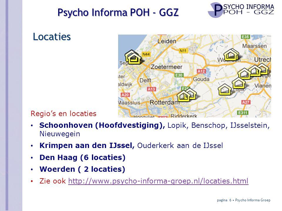 Psycho Informa POH-GGZ contracten Model 1 Huisarts heeft POH-GGZ in dienst Huisarts • Huisarts heeft eigen POH-GGZ overeenkomst met zorgverzekeraar • En heeft zelf POH-GGZ in dienst (basispsycholoog/SPV) • Is vaktechnisch verantwoordelijk (vakbaas) • Is inhoudelijk verantwoordelijk (werkbaas) • Verzorgt werkplek Psycho Informa – POH-GGZ • Heeft geen directe rol, kan wel POH-GGZ aanleveren • Kan regionaal intervisie/kwaliteitsoverleg voor de POH-GGZ's opzetten pagina 27 • Psycho Informa Groep