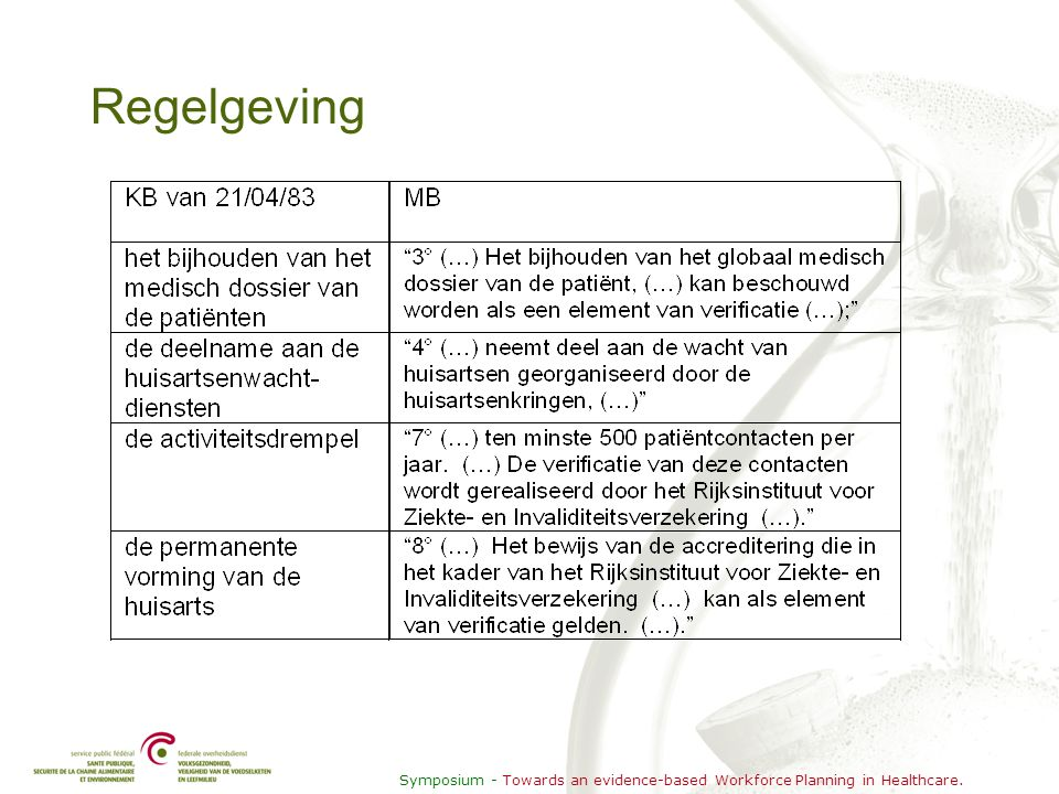 Symposium - Towards an evidence-based Workforce Planning in Healthcare. Regelgeving