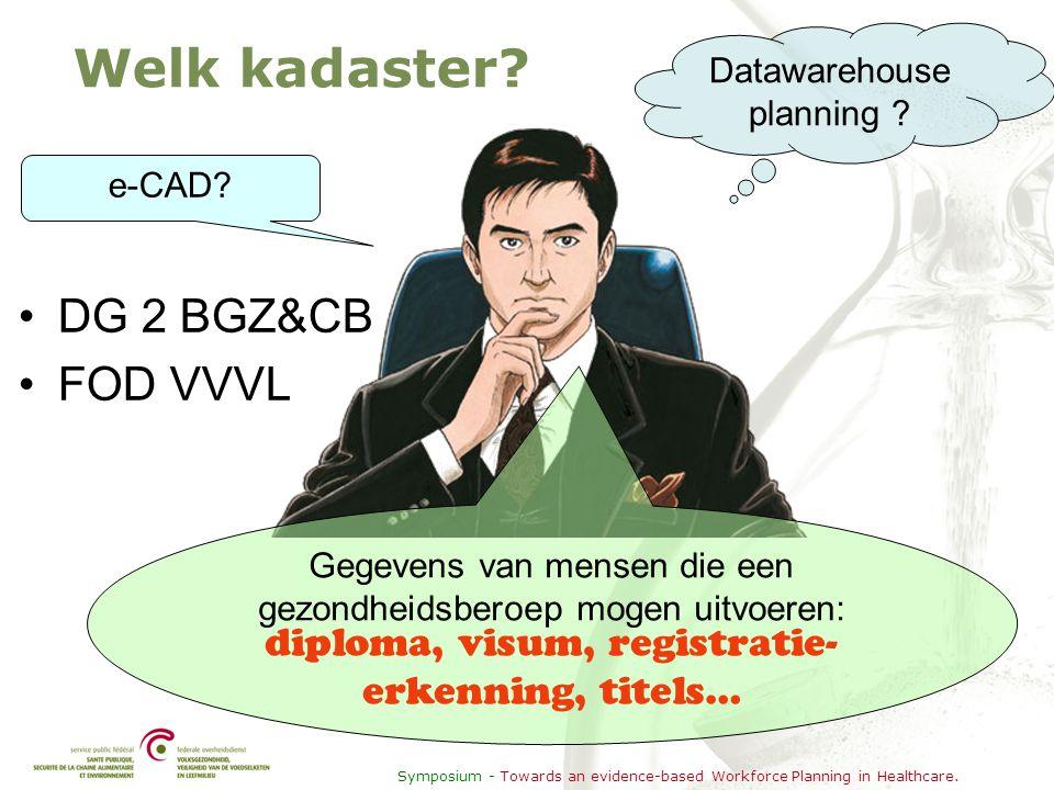 Symposium - Towards an evidence-based Workforce Planning in Healthcare. Welk kadaster? •DG 2 BGZ&CB •FOD VVVL e-CAD? Datawarehouse planning ? Gegevens