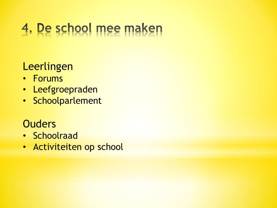 Leerlingen • Forums • Leefgroepraden • Schoolparlement Ouders • Schoolraad • Activiteiten op school