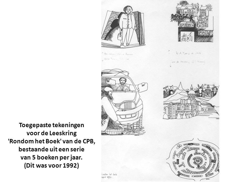 Toegepaste tekeningen voor de Leeskring 'Rondom het Boek' van de CPB, bestaande uit een serie van 5 boeken per jaar. (Dit was voor 1992)