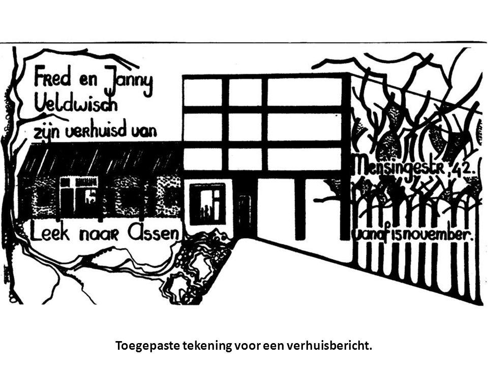 Toegepaste tekening voor een verhuisbericht.