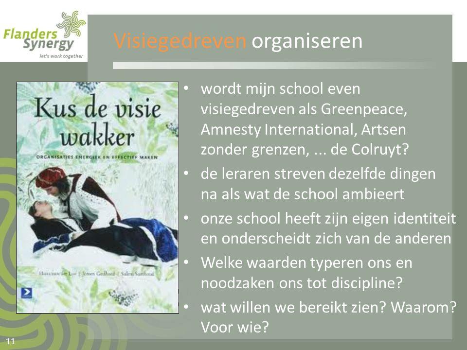 Visiegedreven organiseren • wordt mijn school even visiegedreven als Greenpeace, Amnesty International, Artsen zonder grenzen,... de Colruyt? • de ler