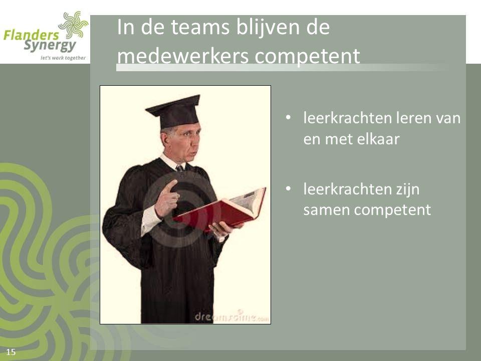 In de teams blijven de medewerkers competent • leerkrachten leren van en met elkaar • leerkrachten zijn samen competent 15