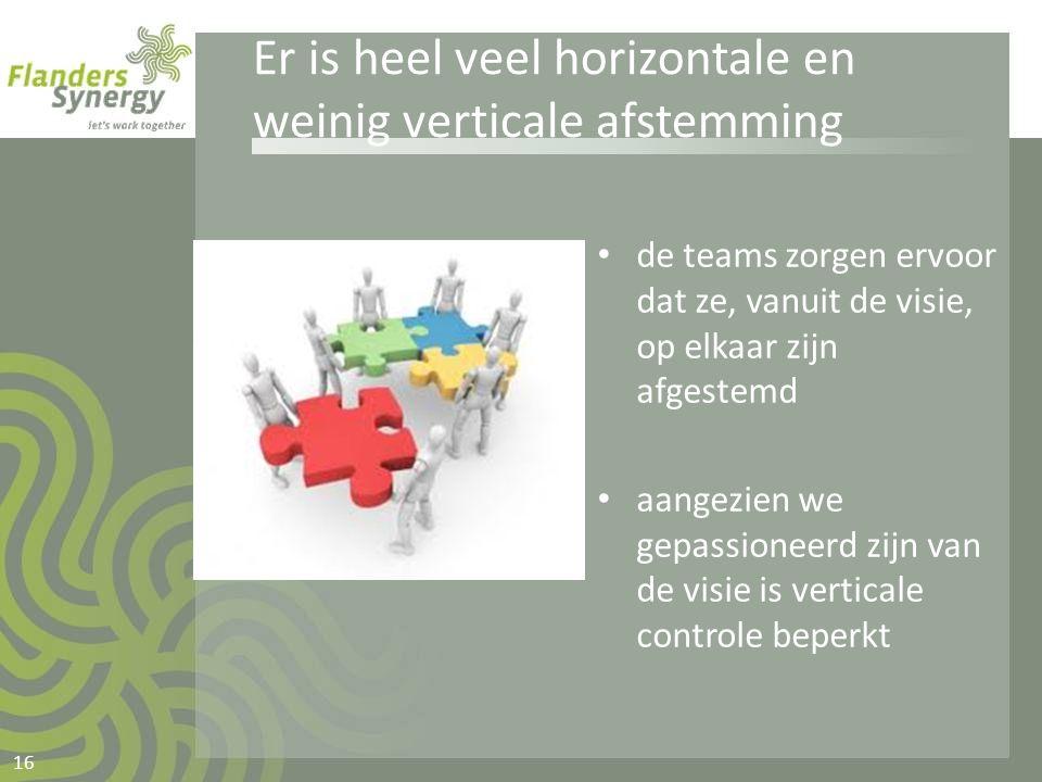 Er is heel veel horizontale en weinig verticale afstemming • de teams zorgen ervoor dat ze, vanuit de visie, op elkaar zijn afgestemd • aangezien we g