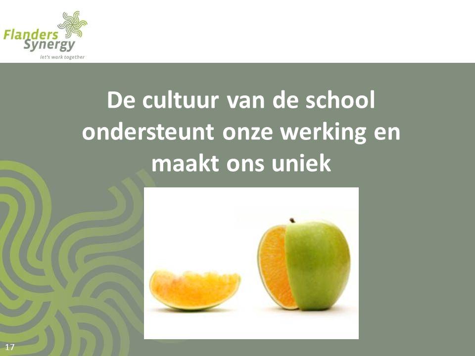 De cultuur van de school ondersteunt onze werking en maakt ons uniek 17