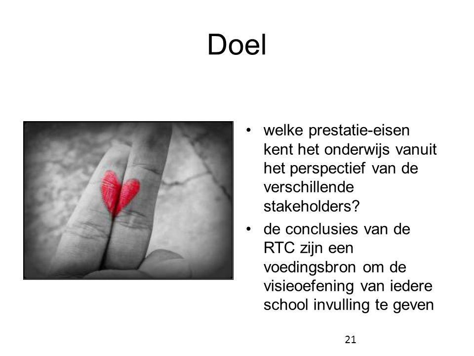 Doel •welke prestatie-eisen kent het onderwijs vanuit het perspectief van de verschillende stakeholders? •de conclusies van de RTC zijn een voedingsbr