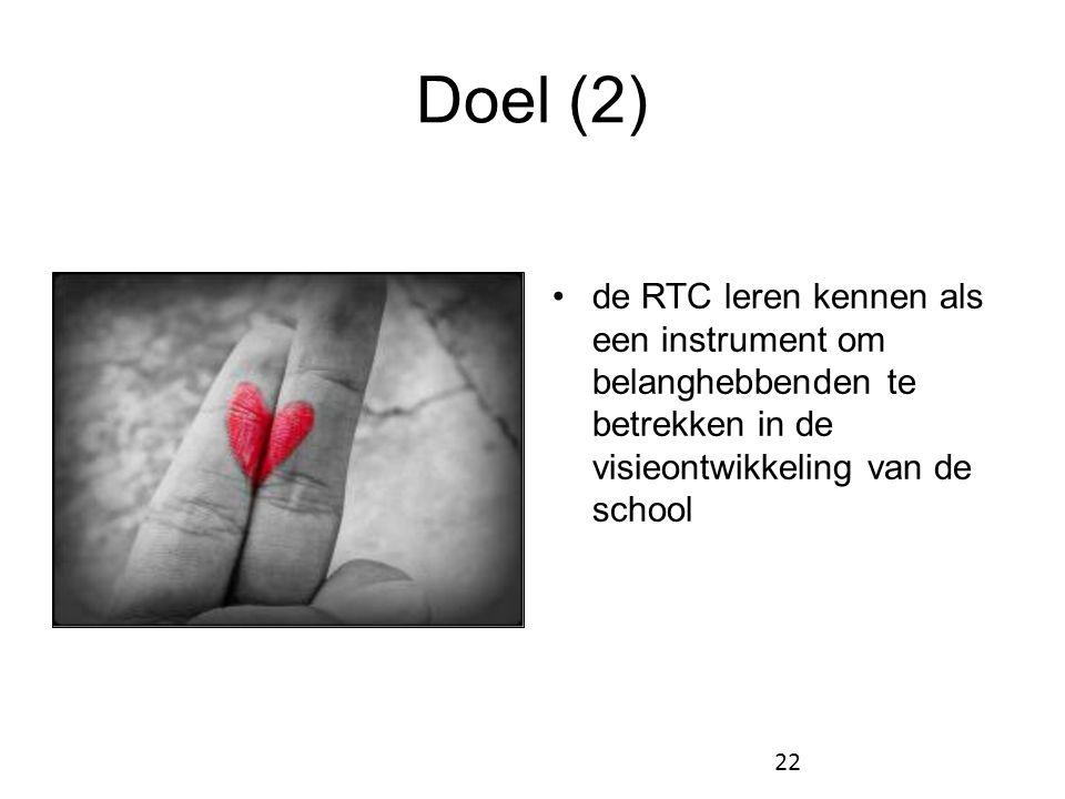Doel (2) •de RTC leren kennen als een instrument om belanghebbenden te betrekken in de visieontwikkeling van de school 22