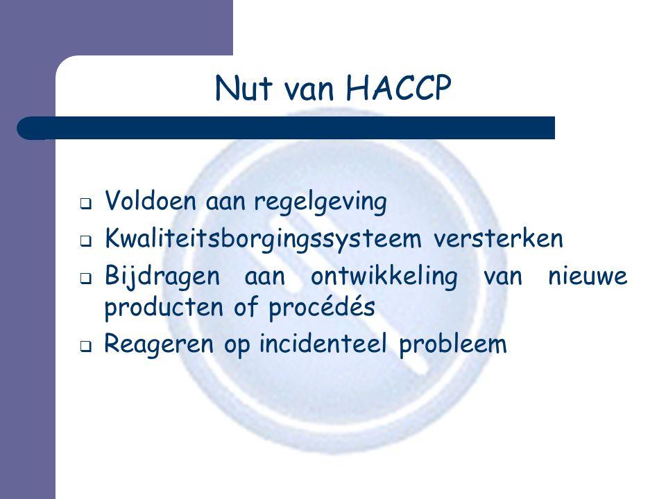 Nut van HACCP  Voldoen aan regelgeving  Kwaliteitsborgingssysteem versterken  Bijdragen aan ontwikkeling van nieuwe producten of procédés  Reagere
