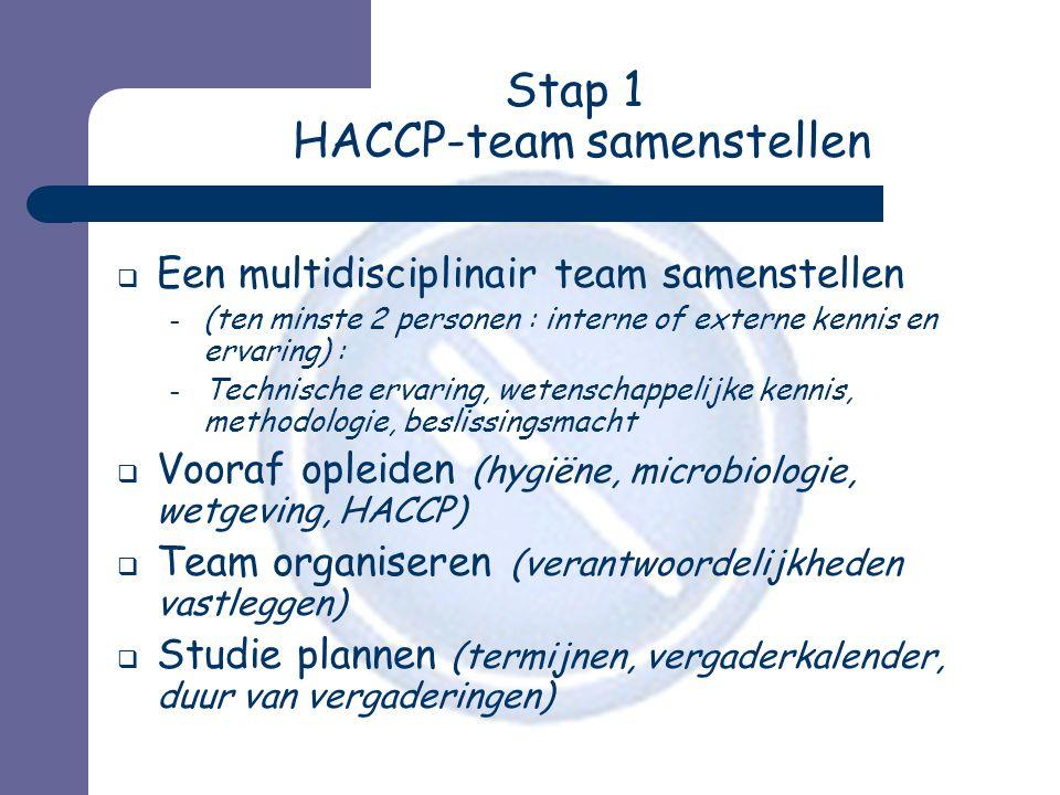 Stap 1 HACCP-team samenstellen  Een multidisciplinair team samenstellen – (ten minste 2 personen : interne of externe kennis en ervaring) : – Technische ervaring, wetenschappelijke kennis, methodologie, beslissingsmacht  Vooraf opleiden (hygiëne, microbiologie, wetgeving, HACCP)  Team organiseren (verantwoordelijkheden vastleggen)  Studie plannen (termijnen, vergaderkalender, duur van vergaderingen)