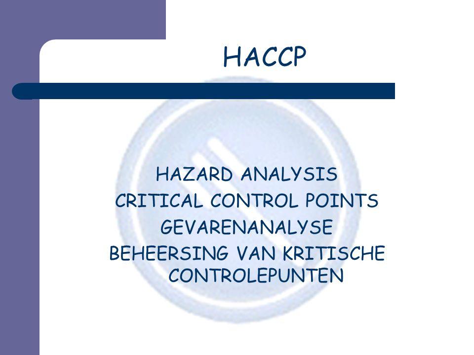 Logische aanpak : voorbereidende stappen  1.Gebied van de studie definiëren en HACCP-team samenstellen  2.Gegevens over product verzamelen  3.Verwacht gebruik van product identificeren  4.Fabricageschema opstellen  5.Fabricageschema bevestigen