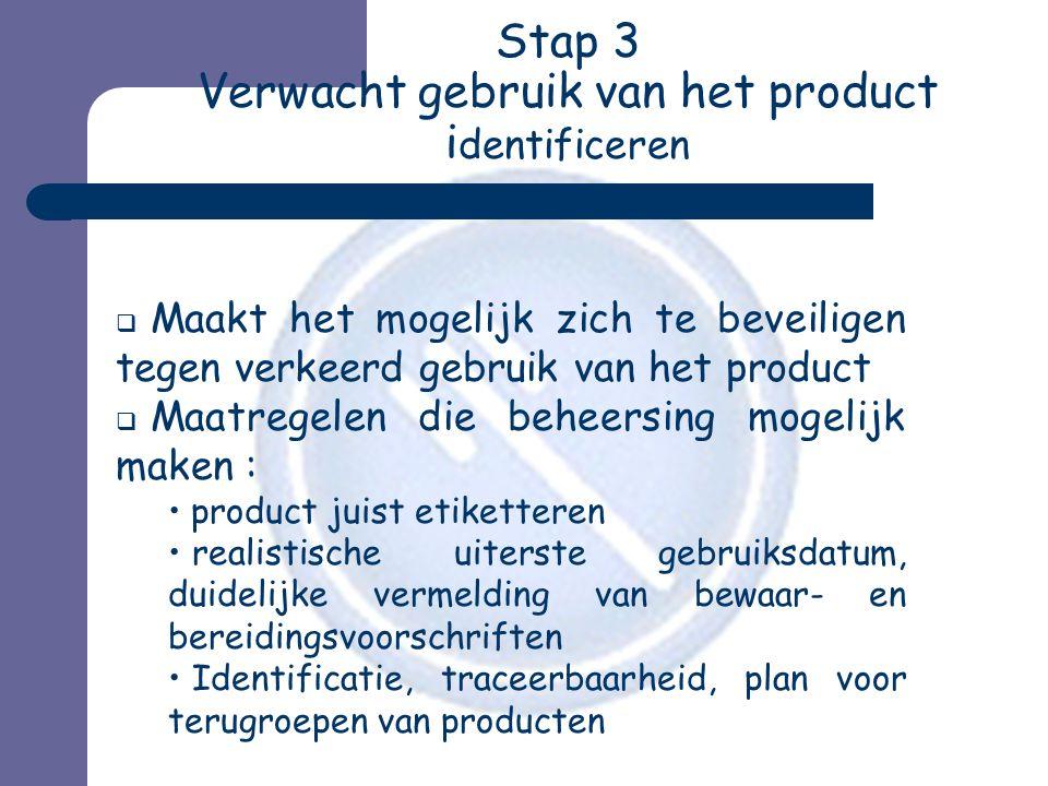Stap 3 Verwacht gebruik van het product i dentificeren  Maakt het mogelijk zich te beveiligen tegen verkeerd gebruik van het product  Maatregelen di