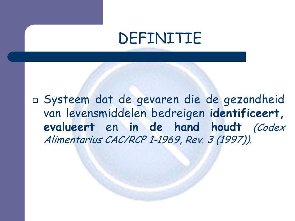DEFINITIE  Systeem dat de gevaren die de gezondheid van levensmiddelen bedreigen identificeert, evalueert en in de hand houdt (Codex Alimentarius CAC