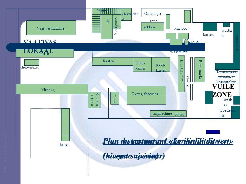 Plan du restaurant «Le jardin dit vert» (niveau supérieur) Plan du restaurant «Le jardin dit vert» (niveau supérieur) VAATWAS- LOKAAL Vaatwasmachine V