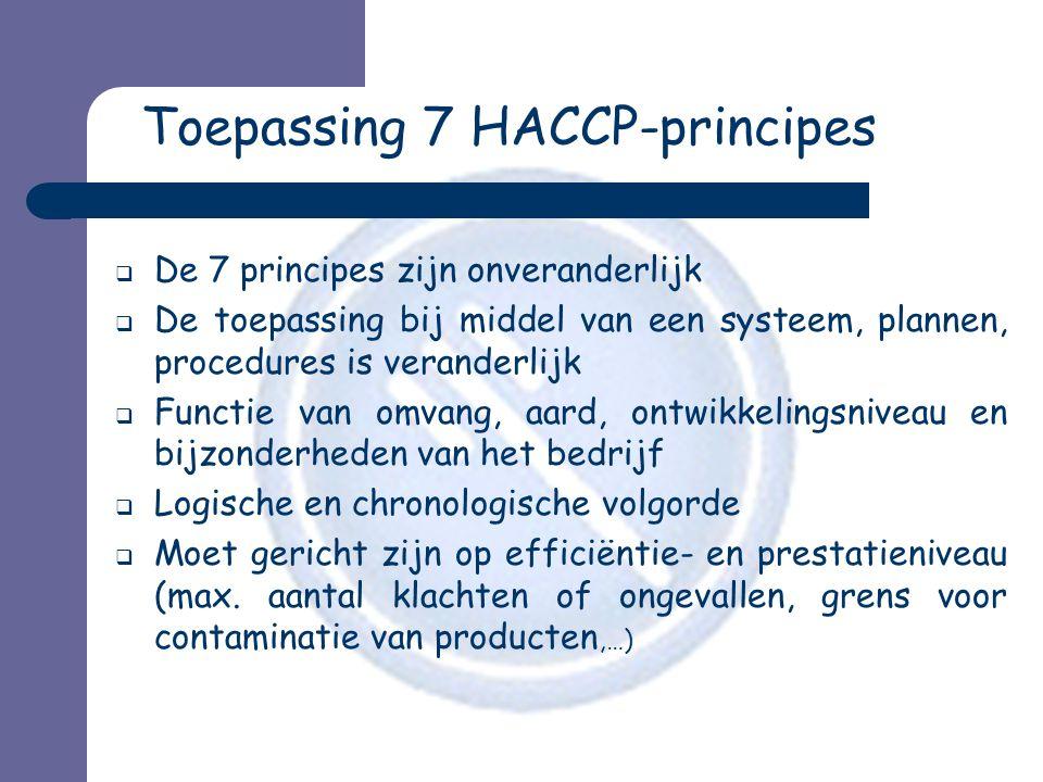 Toepassing 7 HACCP-principes  De 7 principes zijn onveranderlijk  De toepassing bij middel van een systeem, plannen, procedures is veranderlijk  Functie van omvang, aard, ontwikkelingsniveau en bijzonderheden van het bedrijf  Logische en chronologische volgorde  Moet gericht zijn op efficiëntie- en prestatieniveau (max.
