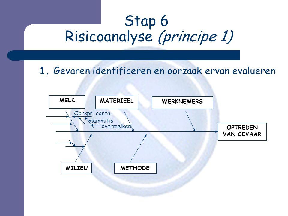 Stap 6 Risicoanalyse (principe 1) 1. Gevaren identificeren en oorzaak ervan evalueren MATERIEEL WERKNEMERS MILIEU METHODE OPTREDEN VAN GEVAAR MELK Oor