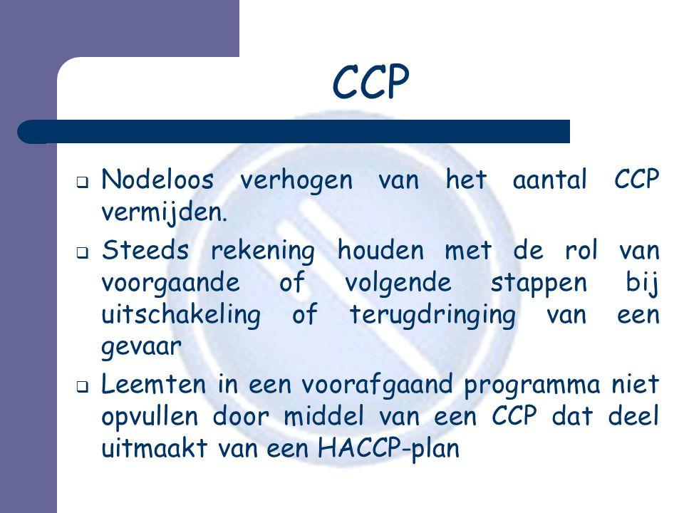 CCP  Nodeloos verhogen van het aantal CCP vermijden.  Steeds rekening houden met de rol van voorgaande of volgende stappen bij uitschakeling of teru