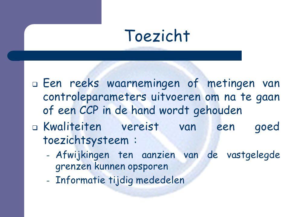 Toezicht  Een reeks waarnemingen of metingen van controleparameters uitvoeren om na te gaan of een CCP in de hand wordt gehouden  Kwaliteiten vereis