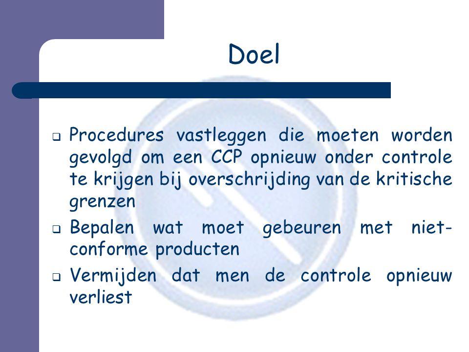 Doel  Procedures vastleggen die moeten worden gevolgd om een CCP opnieuw onder controle te krijgen bij overschrijding van de kritische grenzen  Bepalen wat moet gebeuren met niet- conforme producten  Vermijden dat men de controle opnieuw verliest
