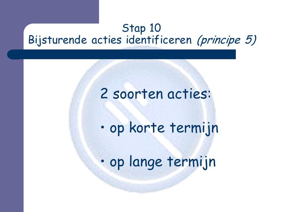 Stap 10 Bijsturende acties identificeren (principe 5) 2 soorten acties: • op korte termijn • op lange termijn
