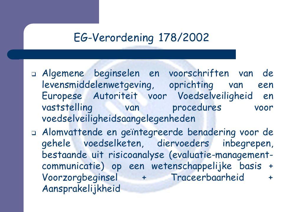 EG-Verordening 178/2002  Algemene beginselen en voorschriften van de levensmiddelenwetgeving, oprichting van een Europese Autoriteit voor Voedselveil