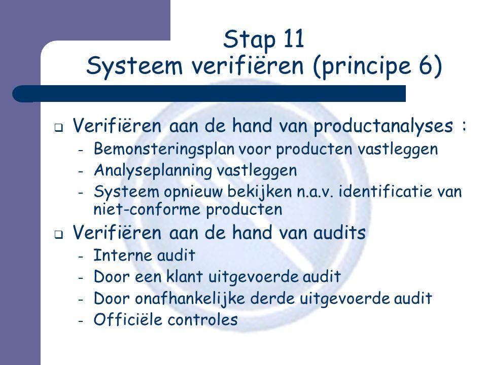 Stap 11 Systeem verifiëren (principe 6)  Verifiëren aan de hand van productanalyses : – Bemonsteringsplan voor producten vastleggen – Analyseplanning vastleggen – Systeem opnieuw bekijken n.a.v.