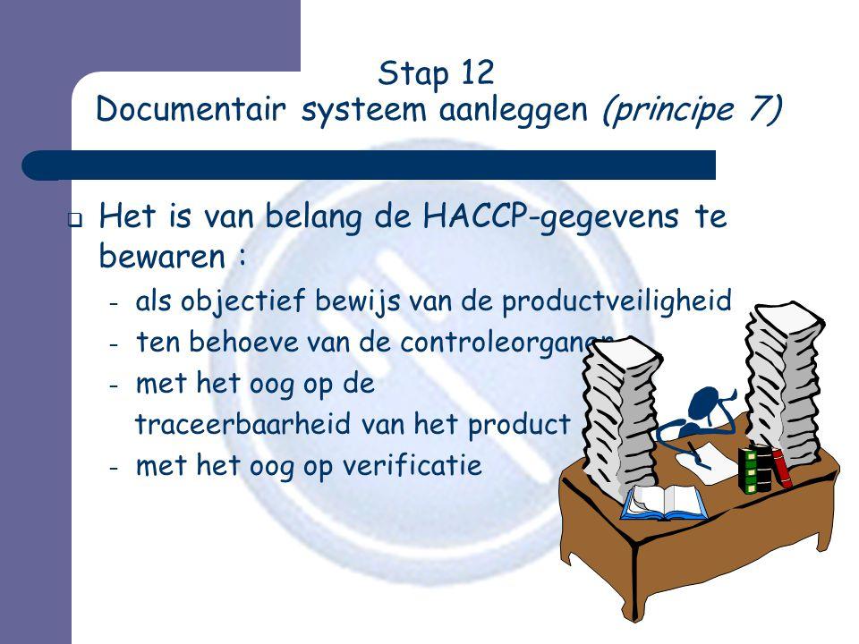 Stap 12 Documentair systeem aanleggen (principe 7)  Het is van belang de HACCP-gegevens te bewaren : – als objectief bewijs van de productveiligheid