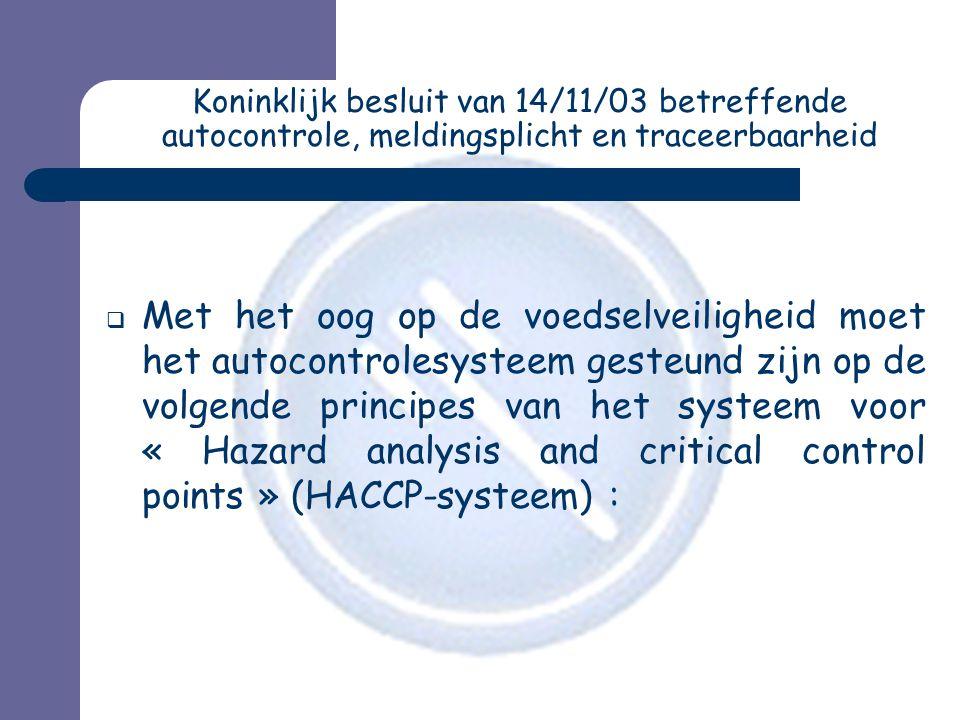 Koninklijk besluit van 14/11/03 betreffende autocontrole, meldingsplicht en traceerbaarheid  Met het oog op de voedselveiligheid moet het autocontrol