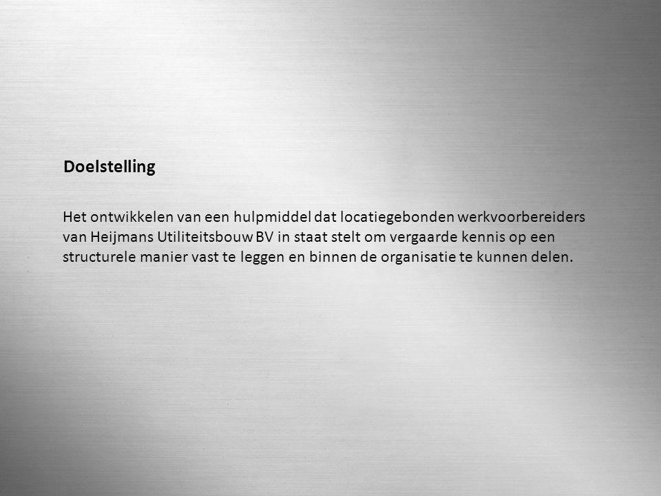 N.G. STRUIJKEN 0512222 SLIDE 18 / 36 Doelstelling Het ontwikkelen van een hulpmiddel dat locatiegebonden werkvoorbereiders van Heijmans Utiliteitsbouw