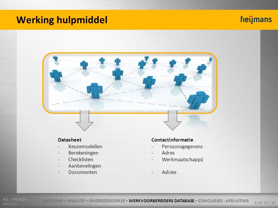 N.G. STRUIJKEN 0512222 SLIDE 24 / 36 Werking hulpmiddel Technische en procesmatige kennis Specialisten Datasheet -Keuzemodellen -Berekeningen -Checkli
