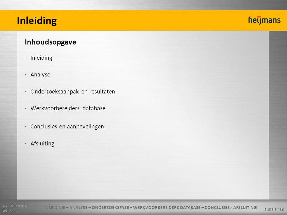 N.G. STRUIJKEN 0512222 SLIDE 3 / 36 Inleiding - Inleiding - Analyse - Onderzoeksaanpak en resultaten - Werkvoorbereiders database - Conclusies en aanb