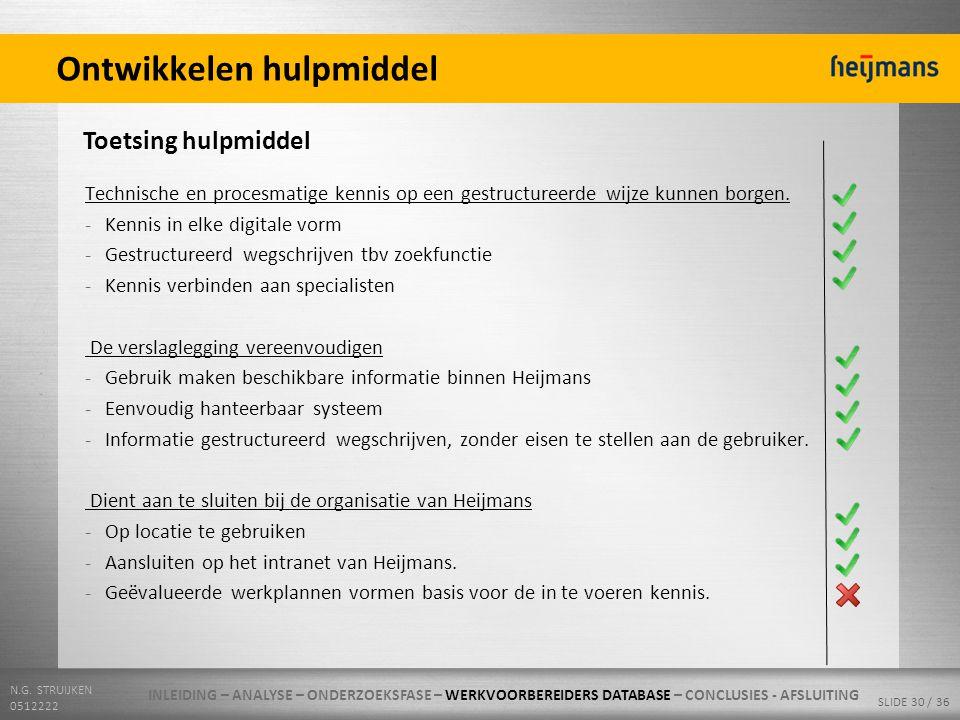 N.G. STRUIJKEN 0512222 SLIDE 30 / 36 Ontwikkelen hulpmiddel Toetsing hulpmiddel Technische en procesmatige kennis op een gestructureerde wijze kunnen