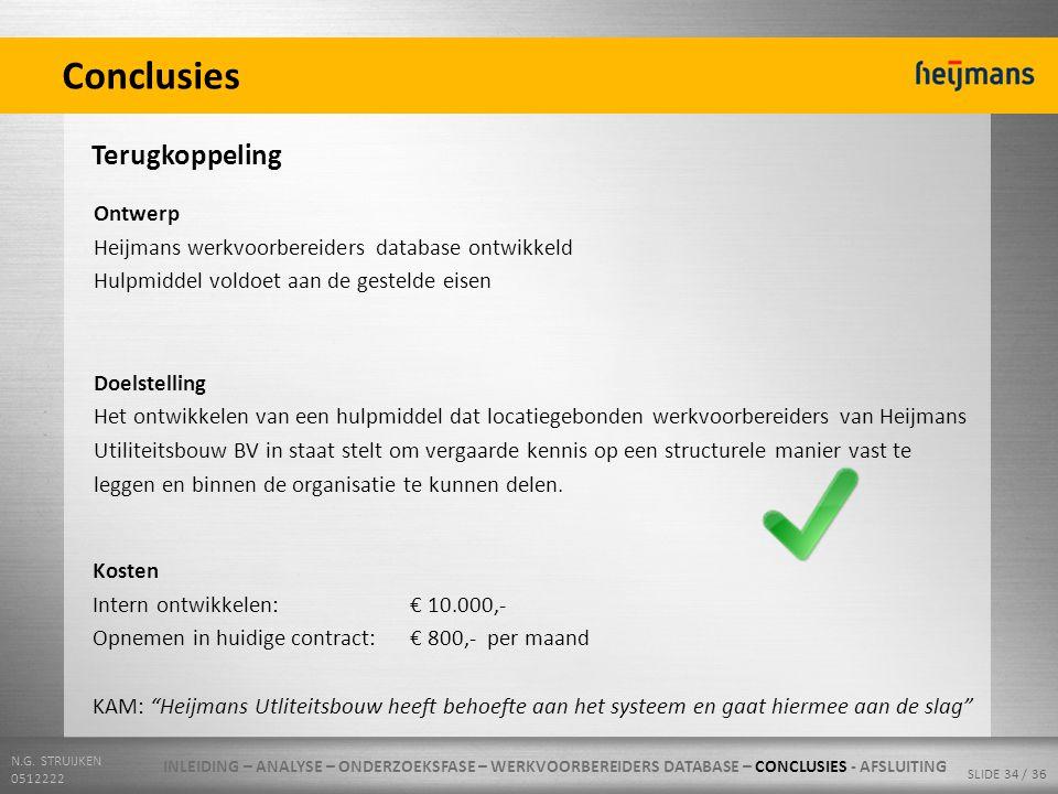 N.G. STRUIJKEN 0512222 SLIDE 34 / 36 Conclusies Terugkoppeling Ontwerp Heijmans werkvoorbereiders database ontwikkeld Hulpmiddel voldoet aan de gestel