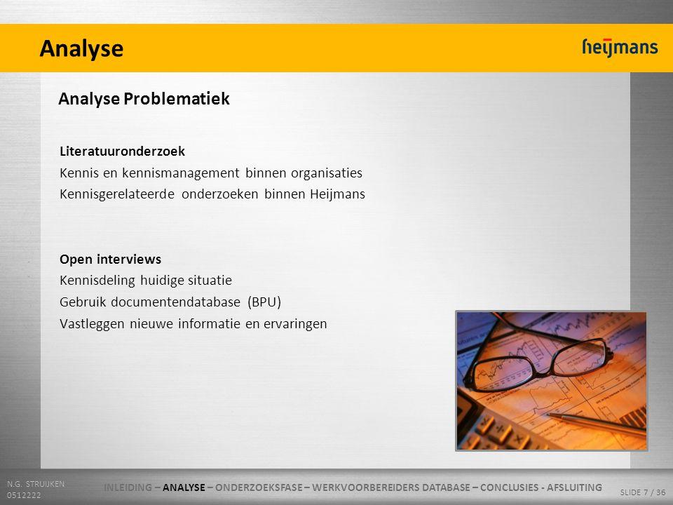 N.G. STRUIJKEN 0512222 SLIDE 7 / 36 Analyse Analyse Problematiek Literatuuronderzoek Kennis en kennismanagement binnen organisaties Kennisgerelateerde