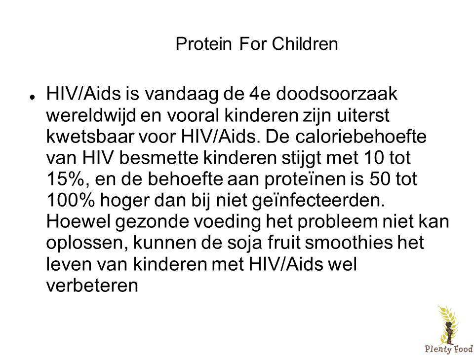 Protein For Children  HIV/Aids is vandaag de 4e doodsoorzaak wereldwijd en vooral kinderen zijn uiterst kwetsbaar voor HIV/Aids. De caloriebehoefte v