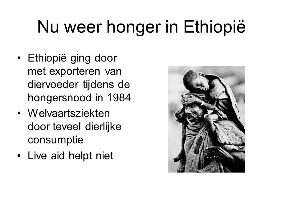 Nu weer honger in Ethiopië •Ethiopië ging door met exporteren van diervoeder tijdens de hongersnood in 1984 •Welvaartsziekten door teveel dierlijke co