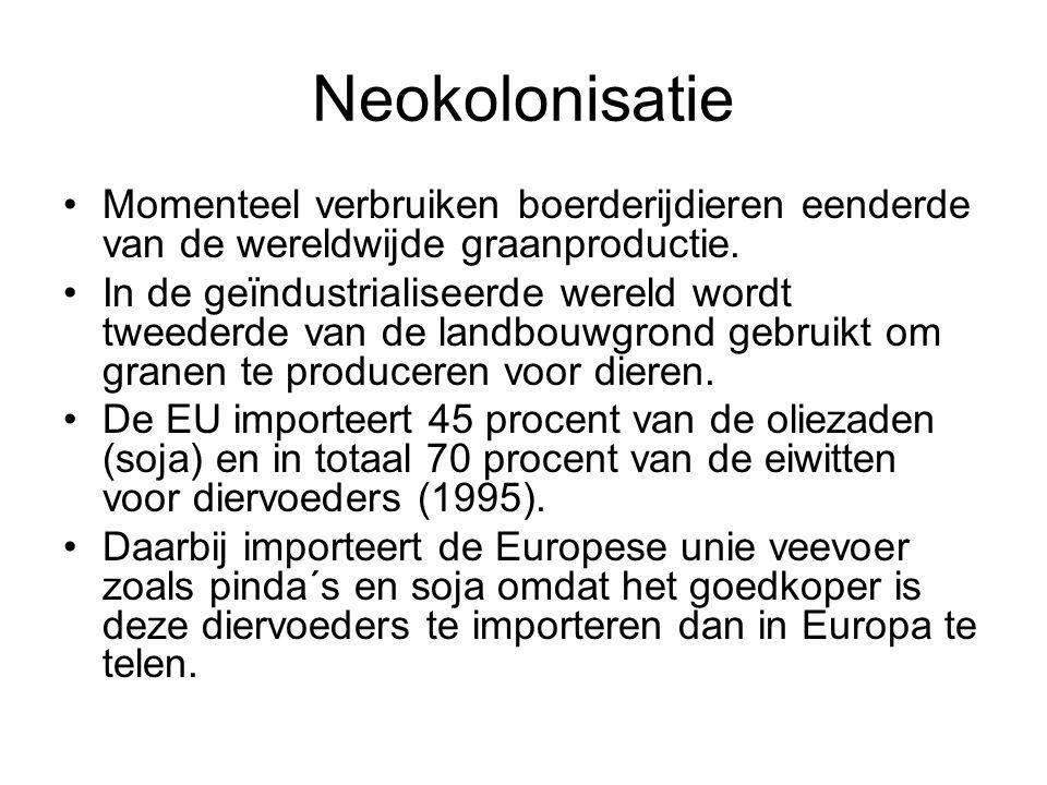Neokolonisatie •Momenteel verbruiken boerderijdieren eenderde van de wereldwijde graanproductie. •In de geïndustrialiseerde wereld wordt tweederde van