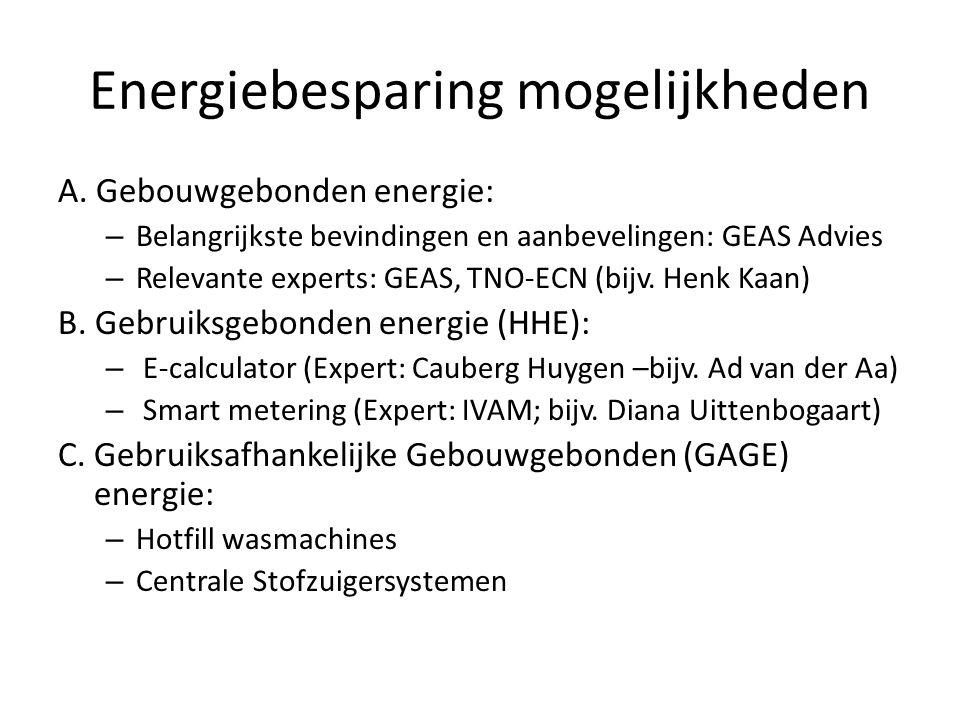Energiebesparing mogelijkheden A. Gebouwgebonden energie: – Belangrijkste bevindingen en aanbevelingen: GEAS Advies – Relevante experts: GEAS, TNO-ECN