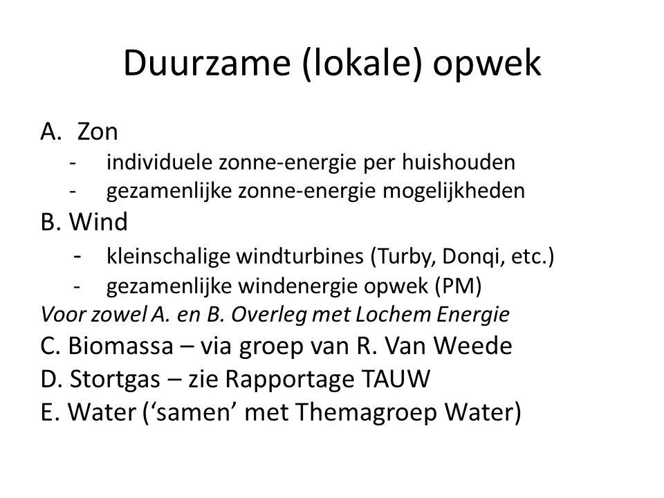 Duurzame (lokale) opwek A.Zon -individuele zonne-energie per huishouden -gezamenlijke zonne-energie mogelijkheden B. Wind - kleinschalige windturbines