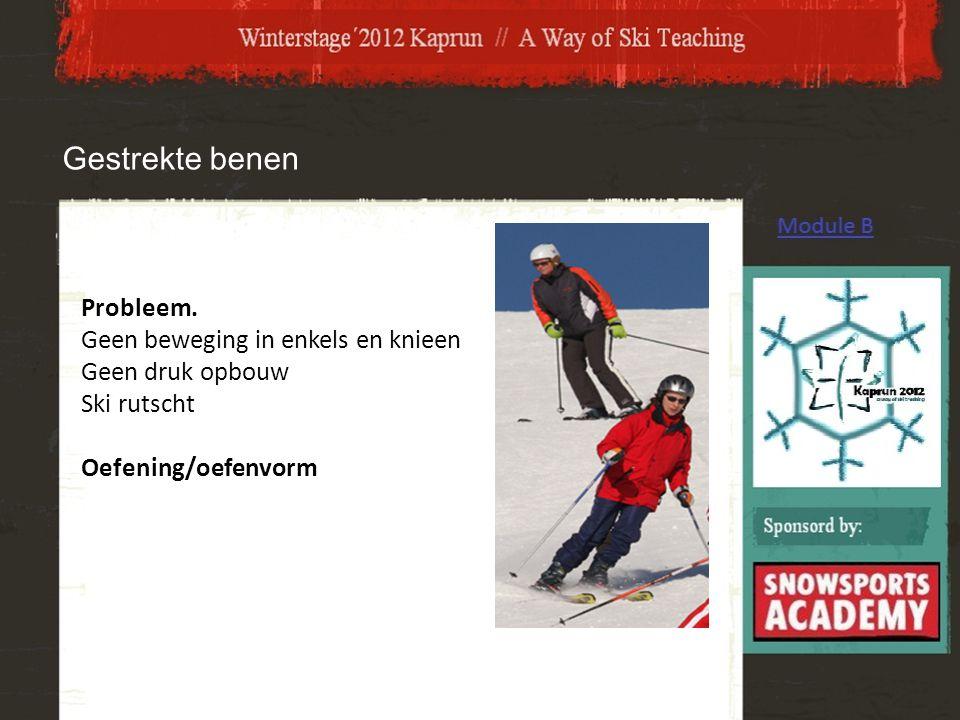 Probleem. Geen beweging in enkels en knieen Geen druk opbouw Ski rutscht Oefening/oefenvorm Gestrekte benen