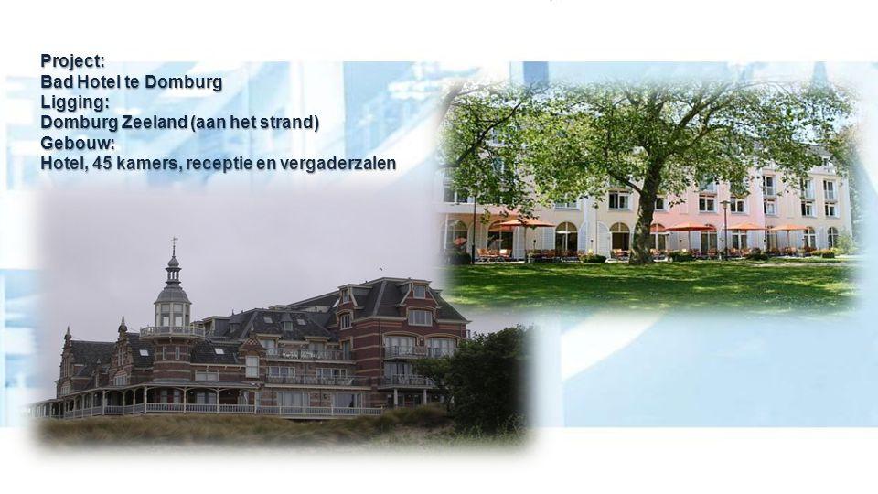 Project: Bad Hotel te Domburg Ligging: Domburg Zeeland (aan het strand) Gebouw: Hotel, 45 kamers, receptie en vergaderzalen