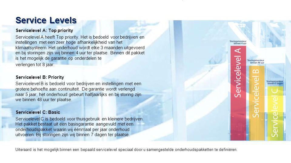 Servicelevel A: Top priority Servicelevel A heeft Top priority. Het is bedoeld voor bedrijven en instellingen met een zeer hoge afhankelijkheid van he
