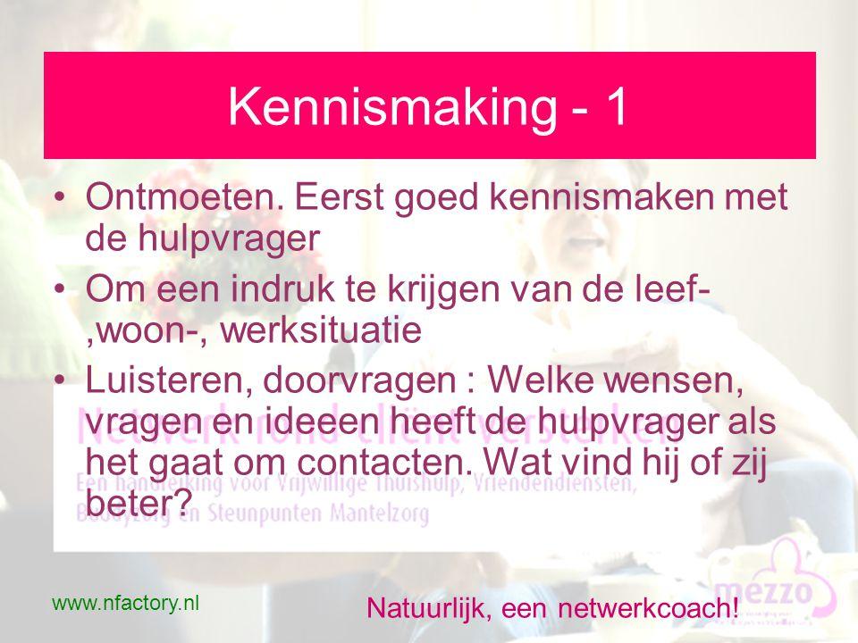 www.nfactory.nl Natuurlijk, een netwerkcoach. Kennismaking - 1 •Ontmoeten.