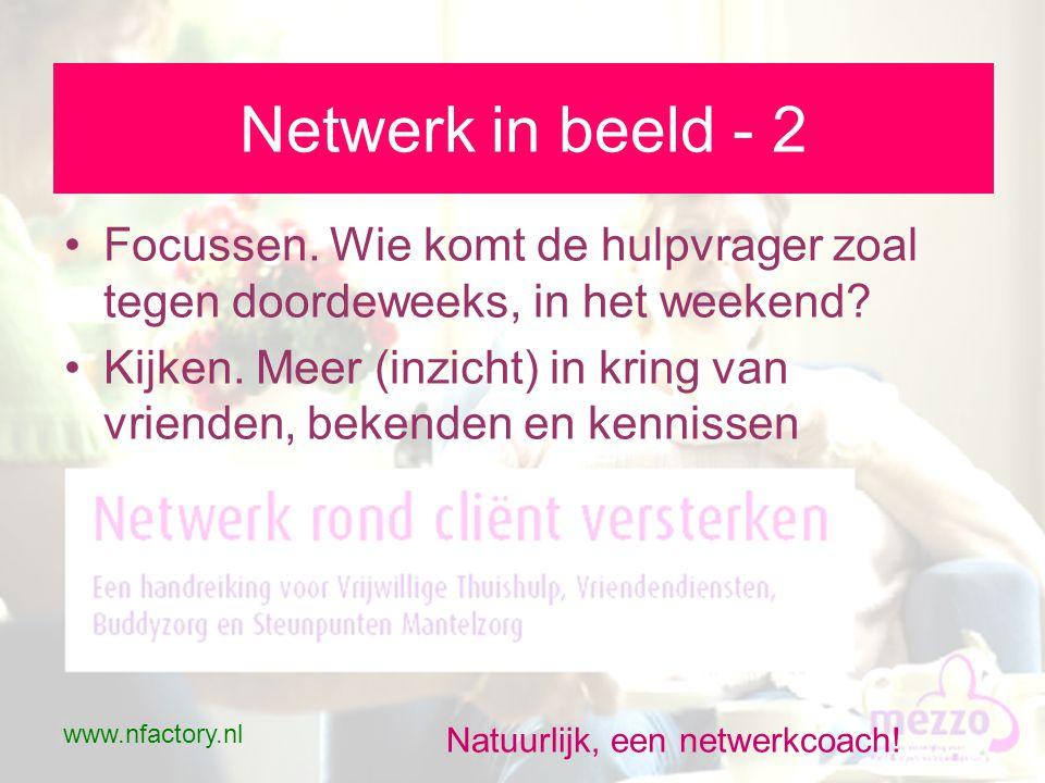 www.nfactory.nl Natuurlijk, een netwerkcoach. Netwerk in beeld - 2 •Focussen.