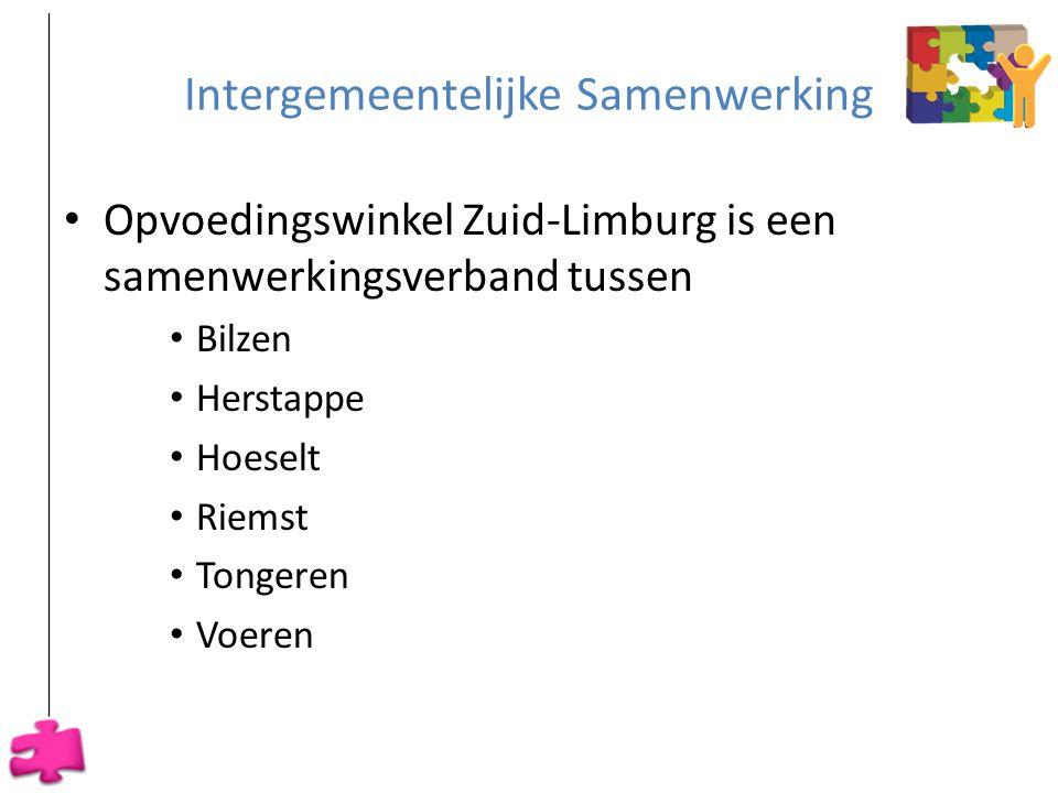Intergemeentelijke Samenwerking • Opvoedingswinkel Zuid-Limburg is een samenwerkingsverband tussen • Bilzen • Herstappe • Hoeselt • Riemst • Tongeren